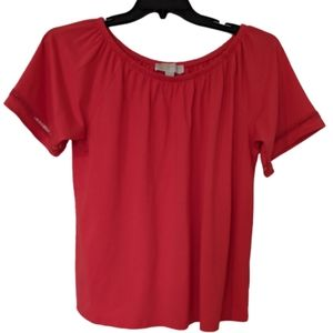 Michael Kors Dark Pink Open Stitch Sleeve Blouse